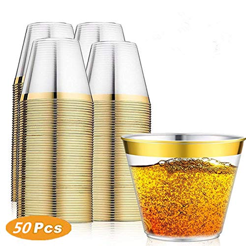 50Pack Gold Plastic Cups,9 Oz Disposable Cocktail Glasses,Disposable Clear Plastic Cups Old Fashioned Tumblers, Fancy Wine Tumblers, Plastic Wine Glasses