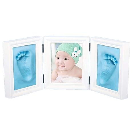 JZK Precioso kit marco huella manos y pies bebé recuerdo fotográfico huellas bebé no tóxico seguro arcilla premium y marcos madera para niño y niña ...