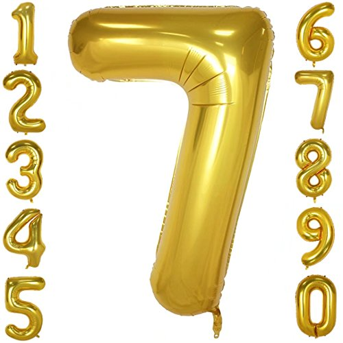 1973 OI 40 Inch Big Gold Number Balloons Mylar Foil Large Number 7 Giant Helium Balloon Birthday Party Decoration (Balloons Helium Large)