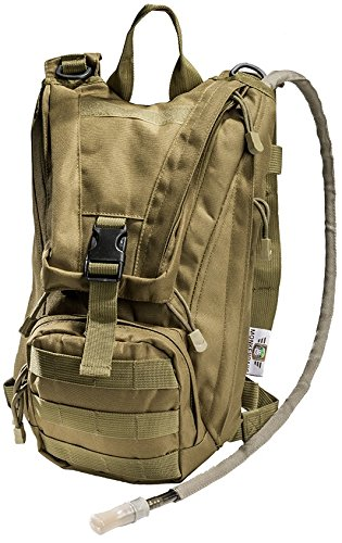 Hydration Pack with 2.5L Bladder and 2 Additional Pockets. Tough Military Style Backpack From Monkey Paks Is Perfect for Hiking, Biking, Running, Walking and More. (Tan)