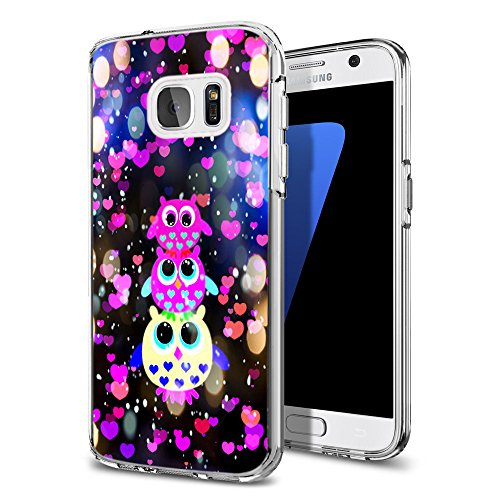Owl Rubber (S7 Case Owl,Ecute Soft Slim Flexible Rubber Side + Style Hard Back Case for for Samsung Galaxy S7 5.1inch - Three Dreamlike Lovely Colorful Owl Design for Girl 2016)
