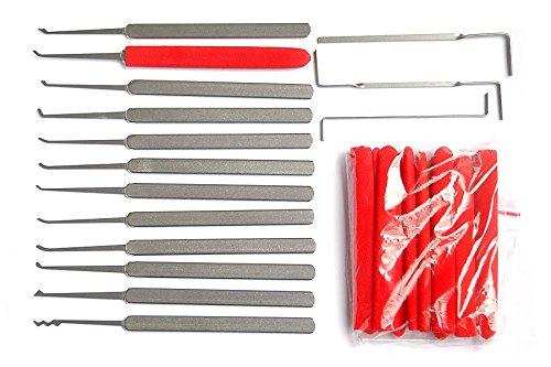 DBH 15Pcs Lock Pick Set with Red PVC Cover,Beginner Lock Pick Training Kit with Transparent Lock