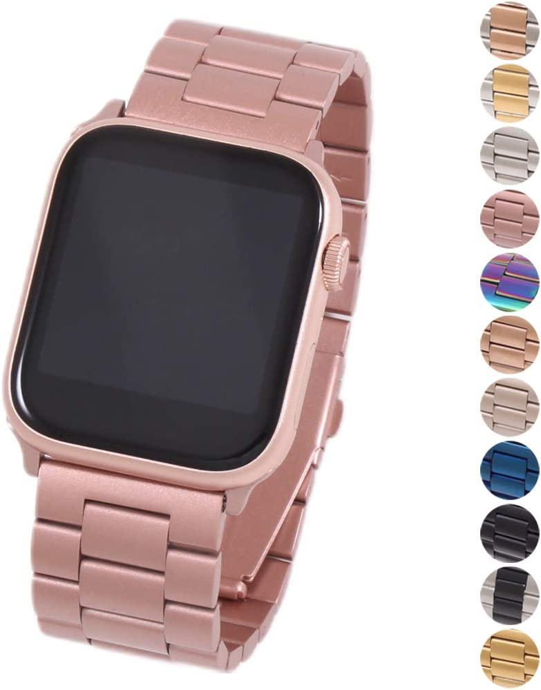 Miniseas Band Compatible with Apple Watch Band 38mm 42mm Stainless Steel Wristband Metal Buckle Clasp Strap Replacement Bracelet for iWatch Series 5/4/3/2/1 40mm 44mm (Pink, 38MM-40MM)