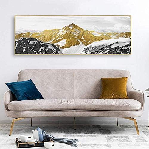 Canvas Art Deco Goud En Sneeuw Berg Abstract Modern Grote Schilderijen Canvas Voor Muur Woonkamer Kunst