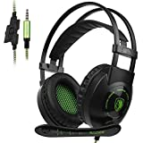 Sades SA801 XboxOne Gaming headset New Version Over-Ear Stereo Gaming Headset with Microphone Noise Isolation for PC Mac Tablets PS4 Laptop Phone(BlackGreen)