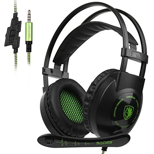 Sades SA801 XboxOne Gaming headset New Version Over-Ear Stereo Gaming Headset with Microphone Noise Isolation for PC Mac Tablets PS4 Laptop Phone(BlackGreen) by Sades
