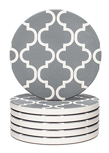 Y YHY Absorbent Stone Coaster Set, Drink Spills Coasters, Set of 6, Grey and White, Geometric Pattern -