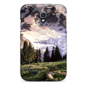 Hard Plastic Galaxy S4 Case Back Cover,hot Blooming Wildflowers Mount Rainier Washington Case At Perfect Diy