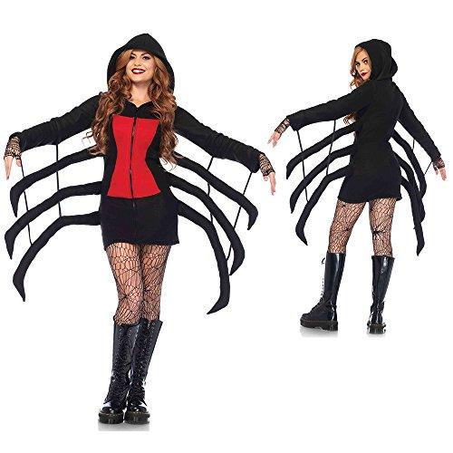Leg Avenue Women's Cozy Black Widow Spider Halloween Costume, Red, X-Small ()