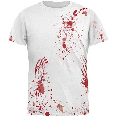 Halloween Blood Splatter All Over Costume Adult T-Shirt - (Halloween Blood T Shirt)