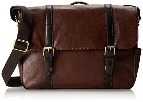 Fossil Men's Estate Leather East-West Messenger Bag, Dark Brown (East West Messenger)