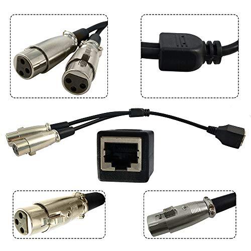FidgetGear Dual XLR 3 Pin Female Plug To RJ45 Feamale Jack Network Connector Cable 0.2m 1pc from FidgetGear