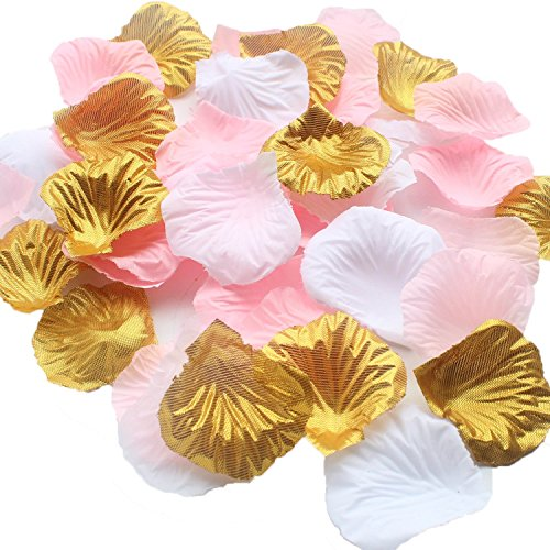 ALLHEARTDESIRES 1200PCS Mixed Pink Gold White Wedding Flower Centerpieces Artificial Flower Table Confetti Scatters Flower Girl Basket Filler Aisle Decor Favor ()