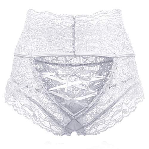 - MALLOOM Womens Sexy Hollow Lace High Waisted Tied Hipster Panties Underwear White