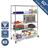 Seville Classics WEB571 MEGA Rack UltraDurable Commercial-Grade 5-Tier NSF-Certified Steel Wire Shelving with Wheels, 60' W x 24' D, Chrome