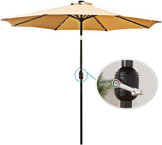 Parasol Luces de sombrilla para Patio Luces de Cuerda LED Paraguas Luz de Poste Energía Solar Paraguas a Prueba de Agua Iluminación Exterior (Inclinación de manivela) CMXZ: Amazon.es: Jardín