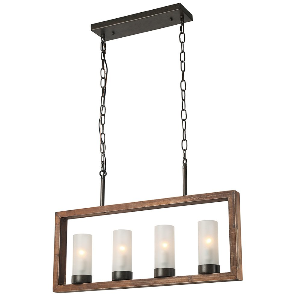 LALUZ Pendant Lighting for Kitchen Island with Faux Wood Finished and Frosted Glass for Dining Room Restaurant, Bar Counter, A03181,