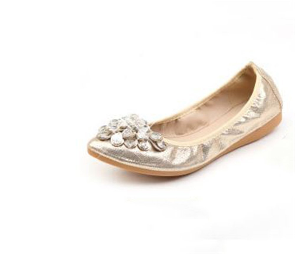 Plus Size Round Toe Flat Shoes Woman Soft Sole Foldable Ballet Shoes Women's Flats Travel Shoes(Gold 42/11 B(M) US Women)