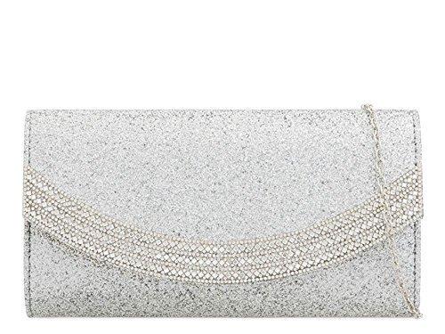 Nuptial EMBELLISSEMENT Sac main femmes pour haute pochette pour à Argent Noir habillé DIVA Medium paillette 'S NEUF Diamant wPzXHqx1pX