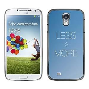 TECHCASE**Cubierta de la caja de protección la piel dura para el ** Samsung Galaxy S4 I9500 ** More Less Text Inspirational Minimalism Blue