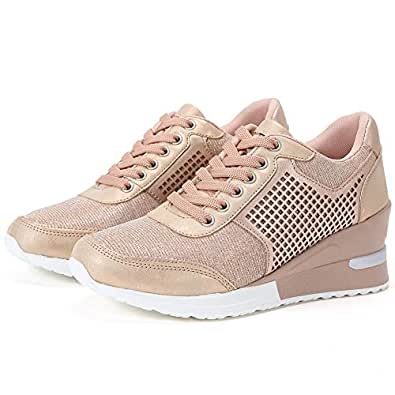 High Heeld Wedge Sneakers for Women - Ladies Hidden Sneakers Lace Up Shoes, Best Chioce for Casual and Daily Wear Pink Size: 5