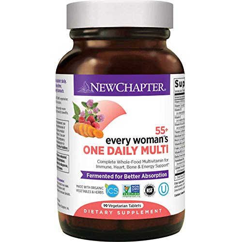 New Chapter Multivitamin for Women 50 Plus - Every Woman's One Daily 55+ with Fermented Probiotics + Whole Foods + Astaxanthin + Organic Non-GMO Ingredients - 90 ct (The Best Multivitamin For Women Over 50)