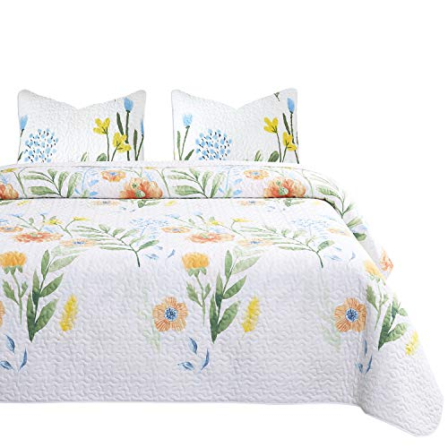 (Wake In Cloud - Floral Quilt Set, Colorful Watercolor Flowers Leaves Painting Printed on White, 100% Cotton Fabric with Soft Microfiber Inner Fill Bedspread Coverlet Bedding (3pcs, Queen Size) )