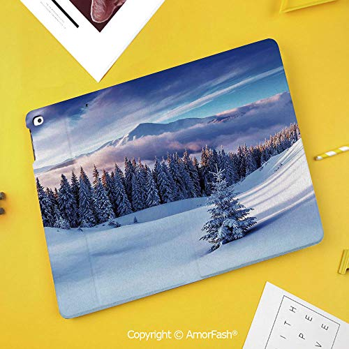 (Printed Case for Samsung Galaxy Tab S4 Corner Protection Premium Vegan Leather Stand Cover,Winter Decorations,Surreal Winter Scenery with High Mountain Peaks and Snowy Pine Trees,Blue White)