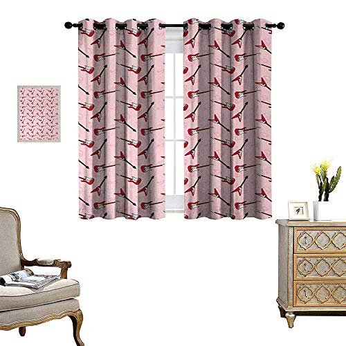 (Anyangeight Guitar Window Curtain Fabric Different Electric Guitar Silhouettes on Pink with Music and Peace Signs Drapes for Living Room W55 x L63 Pale Pink Maroon Brown)