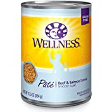 Wellness Natural Grain Free Wet Canned Cat Food, Beef & Salmon Pate, 12.5-Ounce Can (Pack of 12)