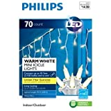 Philips 70ct WARM WHITE LED Icicle Mini String Lights