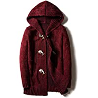 Challyhope Men Winter Casual Hooded Cardigan Loose Fit Thick Knitted Sweater Overcoat