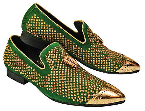 Fiesso Men's Genuine Suede Leather / Gold Rhinestones Italian Design Italy Slip-On Loafer Shoes FI6968, Green, 10