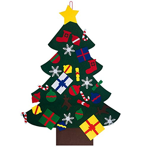 Christmas Tree Set with 32pcs Ornaments, Safe 100% Felt Fbric Material, Best Christmas Gift for Children, Recycle Christmas Decorations Wall Door Hanging by Edo