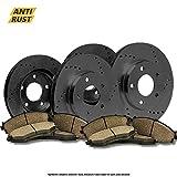 (Front+Rear Kit)4 OE SPEC Black Zinc Drilled Brake Rotors & 8 Ceramic Pads(5lug)