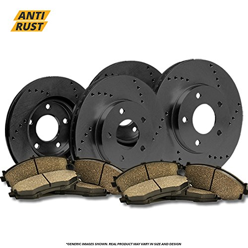 (Front+Rear Kit) 4 OE SPEC Black Zinc Drilled Brake Rotors & 8 Ceramic Pads(5lug) - 2007 Jeep Compass Specs