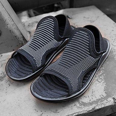 Los hombres sandalias verano comodidad ligera suela exterior de PU Casual talón plano negro zapatos de agua blanca. Black