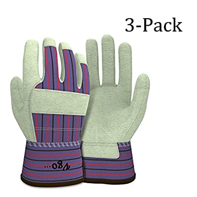 Vgo… Pigskin Leather Warm Winter Work Gloves(3-Pairs)(Size M/L/XL)