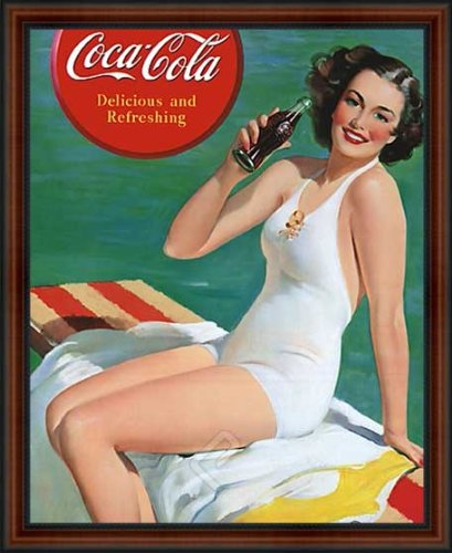 Coca-Cola Delicious and Refreshing Pin Up Girl in White Bathing Suite Framed Vintage Advertising Reproduction Poster. Custom Made Real Wood Dark Walnut with Black Trim Frame (18 1/4 x 22 1/4)