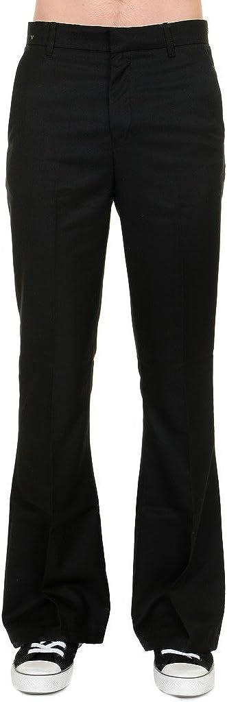 60s – 70s Mens Bell Bottom Jeans, Flares, Disco Pants Run & Fly Mens 60s 70s Vintage Black Presley Flared Slacks Trousers $35.00 AT vintagedancer.com