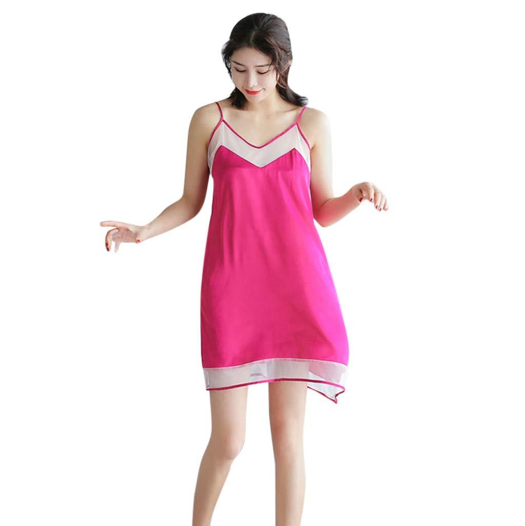 Women Nightwear Sling Sleeveless Nightdress Sexy Lingerie Satin Mesh Sleepwear Dress (XL, Hot Pink)