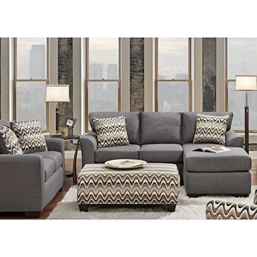 SOFA TRENDZ Charlie 2-piece Reversible Sofa/ Chaise and Loveseat Set Grey 2 Piece Set Chaise