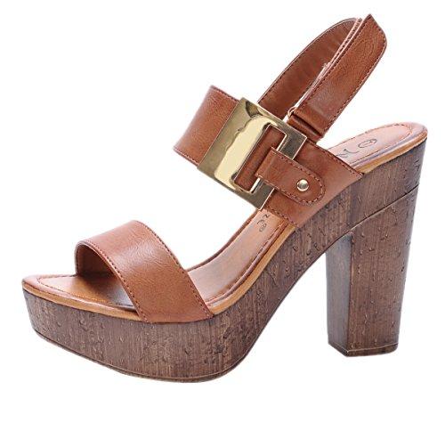Nature Breeze Women's Maroon-01 Platform Slingback Wood Chunky High Heel Sandal,Tan,9