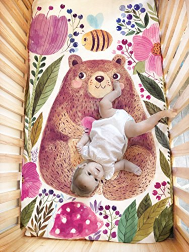 Bear flowers Crib /Bear flowers Cot Duvet cover in 180 thread count percale, multicoloured print. ...