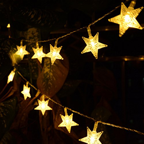 Homeleo 50 LED Warm White LED Twinkle Star Fairy Lights w/Remote Control, Battery Powered Five-Pointed Star String Lights by Homeleo (Image #4)