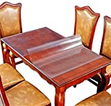 Frosted Table Protector Wood Furniture Frosted Plastic Tablecloths Wipeable Protective Desk Cover PVC Vinyl Glass Dining Tabletop Protection Pad Mat Easy Clean Water Resistant Table Cloth 24'' x 96''
