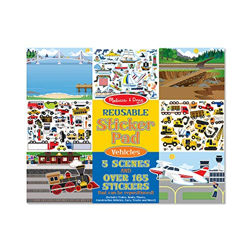 Melissa & Doug Vehicles Reusable Sticker Pad (Extra Large Sticker Activity Pad, Removable Backgrounds, 165+ Stickers, Great Gift for Girls and Boys - Best for 3, 4, and 5 Year Olds) from Melissa & Doug