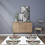 Easy Care Rug Skull and Blossoms Butterflies Christian Religious Celebrati Vacati Easy Clean Resistant W35.5 x L59 INCH