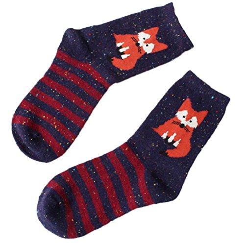 ikevan-1-pair-women-cute-animal-design-fashion-casual-soft-wool-cotton-socks-fox-stripe-socks-navy