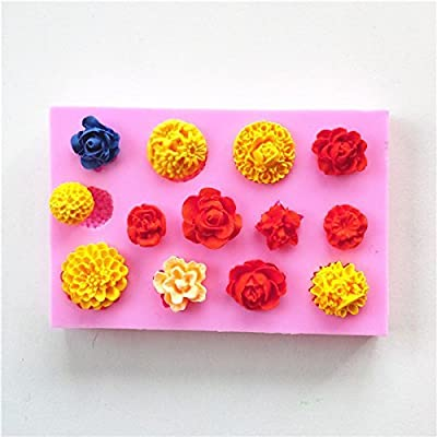 Efivs Arts EA494 Kinds of Mini Flower Shapes Candy Making Silicone Mold Cake Decoration Mould Fondant Chocolate Small Pastry Tool